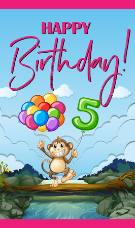 Birthday card with monkey and balloons illustration Illustration
