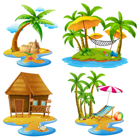 Four scenes of islands and sea illustration