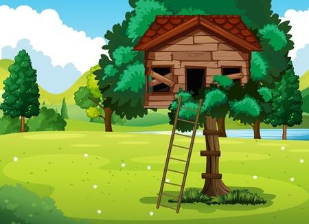 공원 일러스트에서 오래 된 treehouse