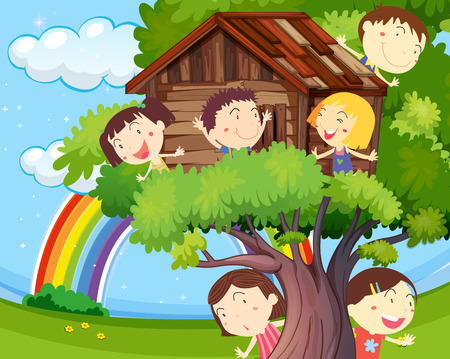 Many children playing on treehouse illustration Illustration