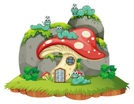 Mushroom house with four caterpillars illustration