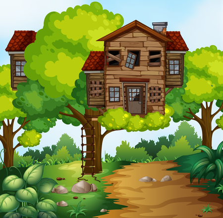Big treehouse in the park illustration