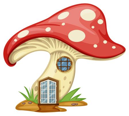 Mushroom house with door and window illustration Illustration