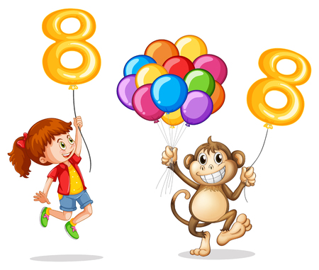 Girl and monkey with balloon number eight illustration