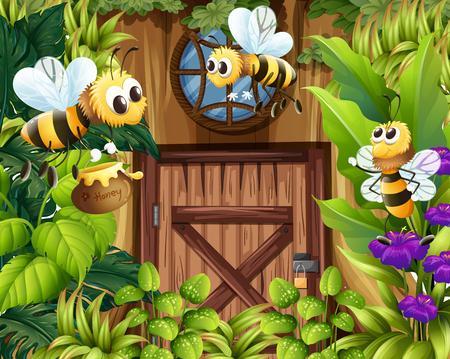 Bees flying around the garden illustration