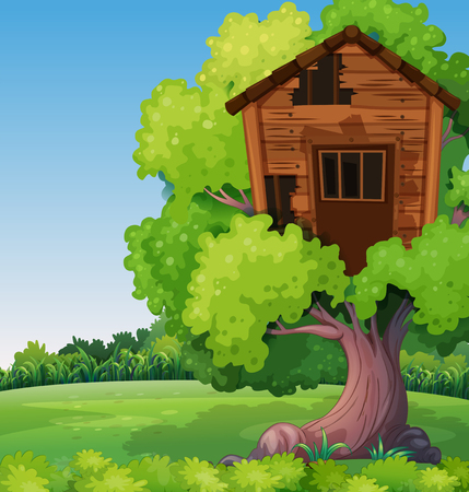 Old treehouse on the tree in park illustration