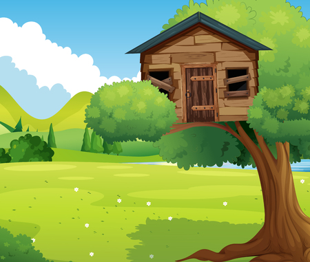 Wooden treehouse in the park illustration