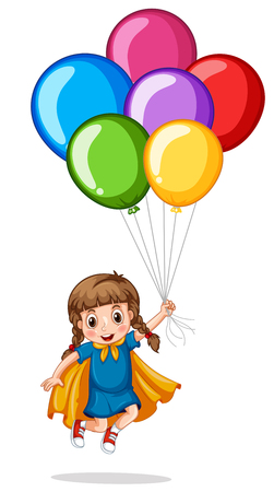 floating: Cute girl and colorful balloons illustration