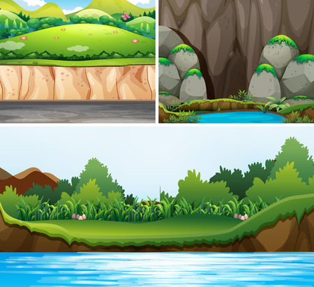 Three scenes of forests and river illustration Illustration