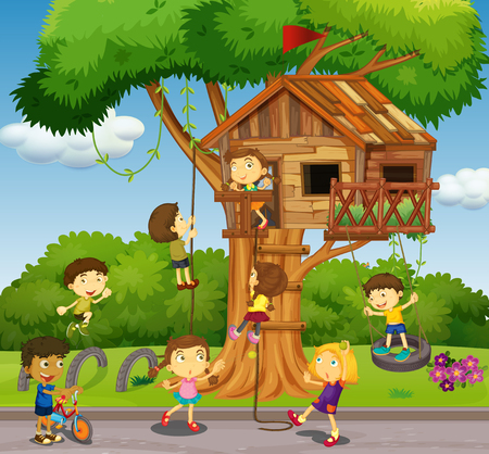 Kids playing at treehouse in park illustration