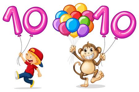 소년과 번호 10 그림에 대 한 풍선 함께 원숭이 일러스트