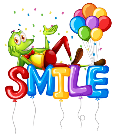 Frog and balloons for word smile illustration