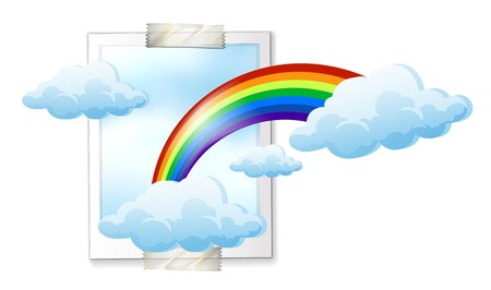 Sky scene with colorful rainbow illustration