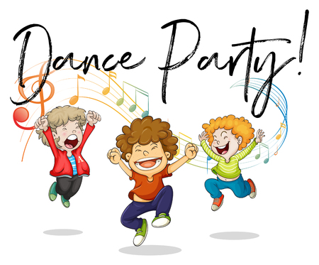 Three boys dancing with music notes in back illustration