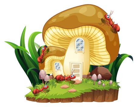 Red ants and mushroom house in garden illustration Illustration