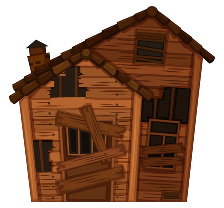 Wooden house in poor condition illustration Illustration
