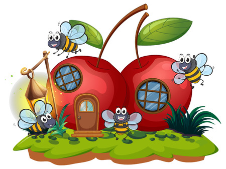 Cherry house and many bees flying illustration