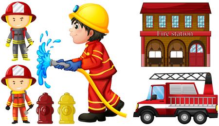 Brandweerlieden en brandweerkazerneillustratie