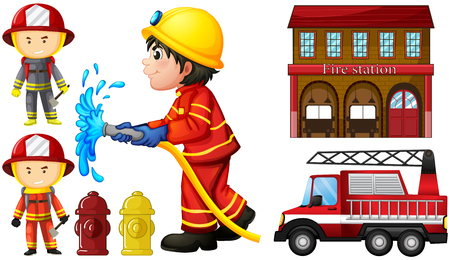 Firefighters and fire station illustration Banque d'images - 85245829