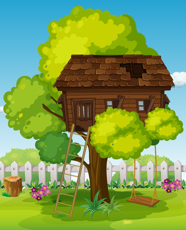 ladder  fence: Treehouse with swing in the park illustration