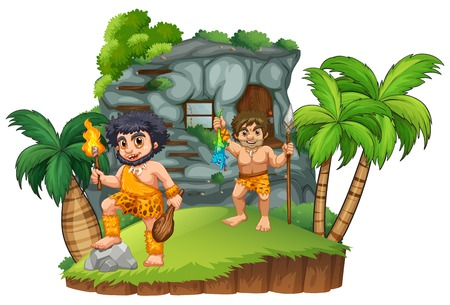 Two cavemen at the rocky house illustration Illustration