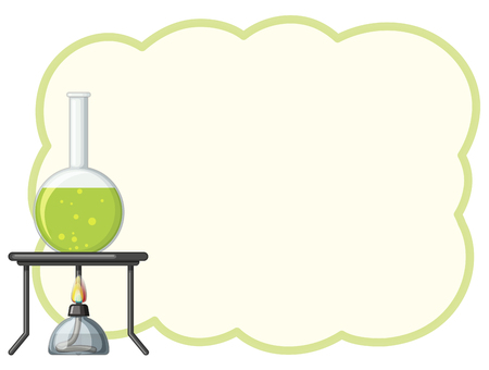 Border template with green chemical illustration Illustration