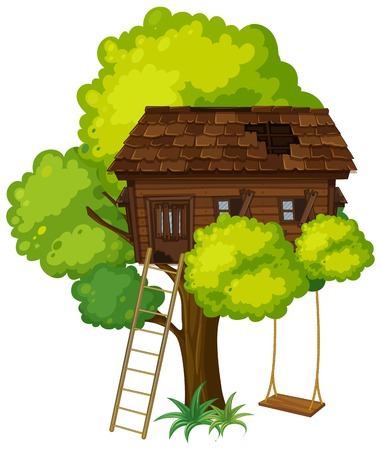 Treehouse with swing on the tree illustration Çizim