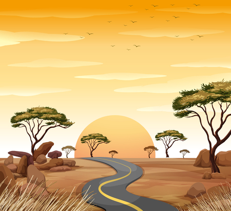 Scene with empty road at sunset illustration Banco de Imagens - 86996794
