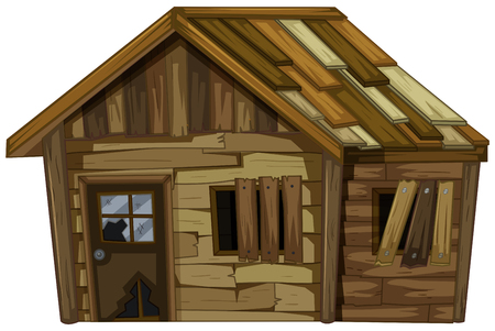 Wooden house with broken windows illustration