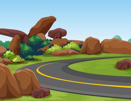 ロッキーの山と道のイラスト シーン