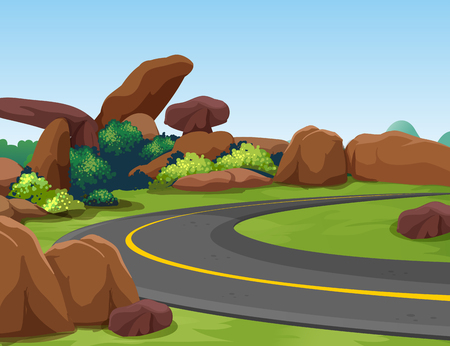 rocky road: Scene with rocky mountain and road illustration Illustration