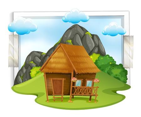 Houten hut in de illustratie van het veld