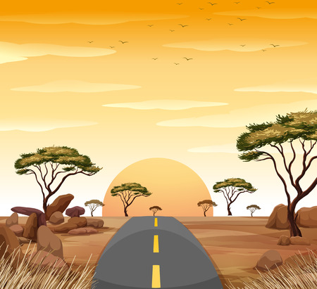 Sunset in the sky and empty road to nowhere illustration Illustration