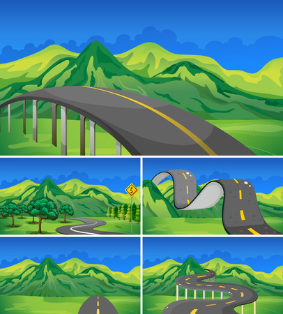 Five scene of empty roads to the mountains illustration