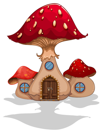 Toadstool house with door and windows illustration Illustration