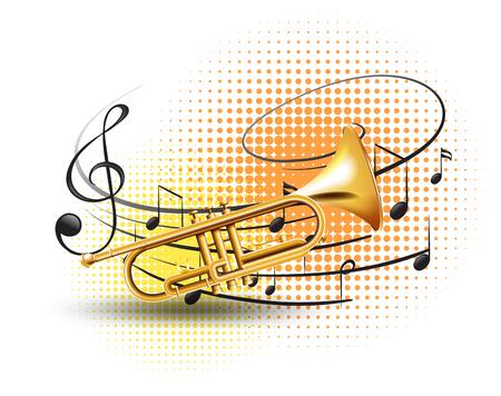 Trompette avec des notes de musique en illustration de fond Banque d'images - 86996856