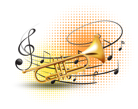 Trumpet with music notes in background illustration