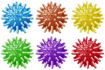 six objects: Six balls with spikes in different colors illustration