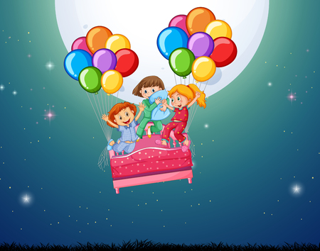 Three girls in bed flying with balloons illustration