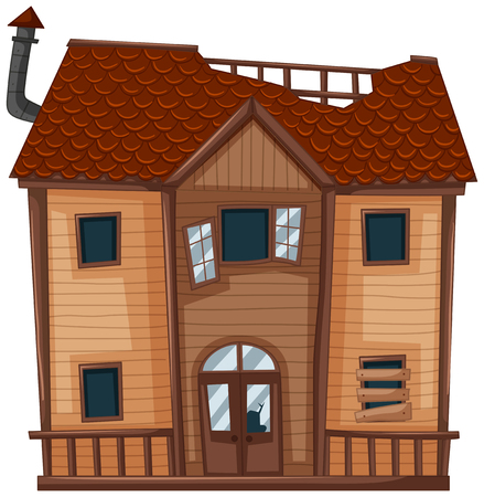 Old house made of wood illustration