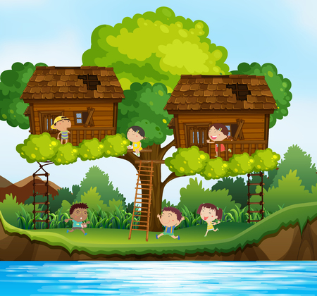 Many children playing in treehouses on the tree illustration Illustration