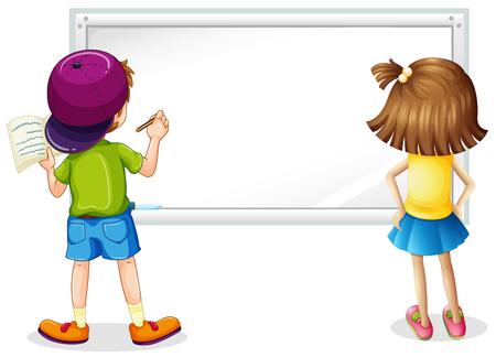 pizarra con niño y escritura de la ilustración Ilustración de vector