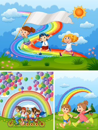 Gelukkige mensen in park met regenboog in achtergrondillustratie