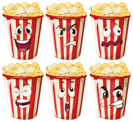 Different facial expressions on popcorn cups illustration 向量圖像