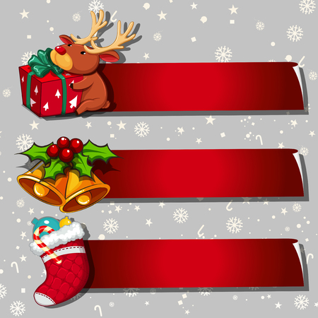 Three banner design with christmas theme