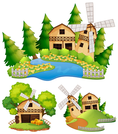 Barns and windmill in the farm illustration