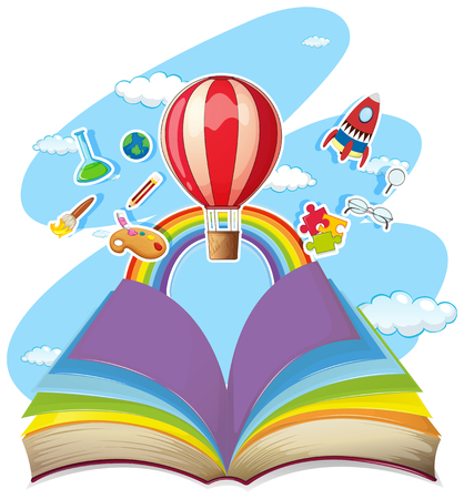 Colorful book with balloon in the sky illustration