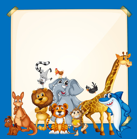 Border template with wild animals on blue background illustration