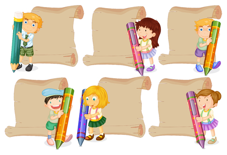 Paper templates with kids holding crayons illustration