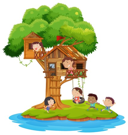 Happy children playing in treehouse on island illustration